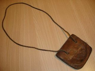 Ww2 Leather Bag For Id Disk / Dog Tag From Afrikakorps Desert Soldier,  Rare