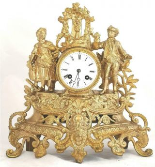 French Antique Mantle Clock 19th C Gilt Metal Figural 8day By Japy Freres