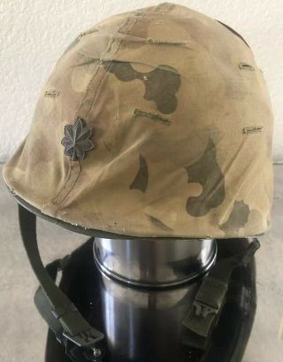 Wwii Us Army Vietnam Camouflage Helmet Liner Cover Steinberg Major M1 Front Seam