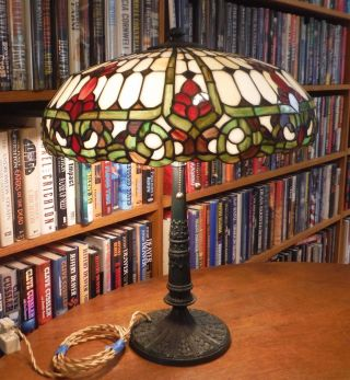 Antique Duffner & Kimberly Leaded Stained Glass Lamp Chicago Salem Styles