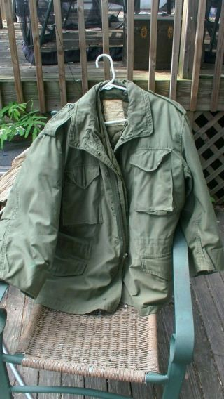 Usgi Post Vietnam Era M - 65 Jacket Large Regular With Liner Made In 1977