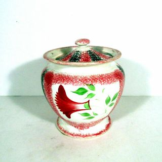 Large Antique Spatterware Sugar Bowl With Cover
