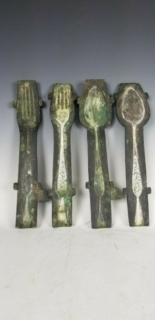 Scarce Cast Bronze 18th C Spoon & Fork Molds For Pewter Or Coin Silver