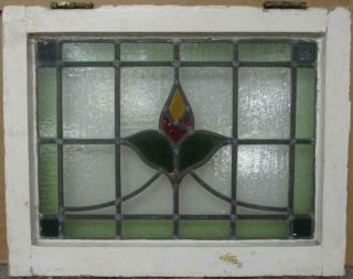 """Old English Leaded Stained Glass Window Gorgeous Bordered Floral 20.  75 """" X 16.  25 """""""