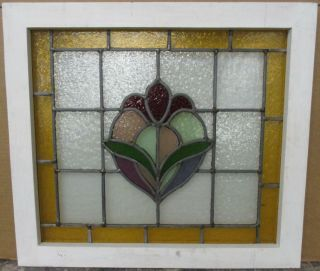 """Mid Sized Old English Leaded Stained Glass Window Bordered Floral 24 """" X 21.  5 """""""