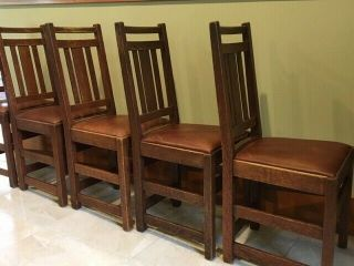 LIMBERT ARTS AND CRAFTS,  MISSION,  DINING CHAIRS - VERY GOOD, 12