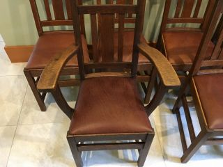 LIMBERT ARTS AND CRAFTS,  MISSION,  DINING CHAIRS - VERY GOOD, 7