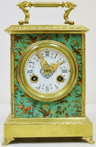 Wow Rare Antique French Hand Painted Panels & Bronze 8 Day Carriage Mantel Clock