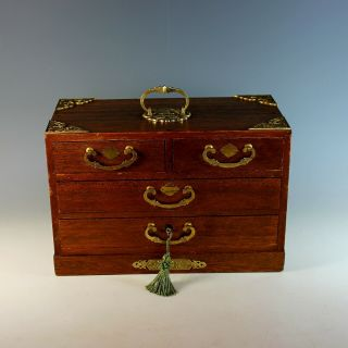 Antique Wood Jewelry Box With Handle,  Drawers And Key
