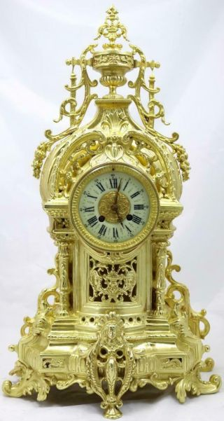 Antique Large Mantle Clock French Pierced Bronze Bell Striking C1870