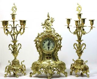 Large Antique 19th C French Gilt Pierced Bronze Mantle Clock Garniture Set