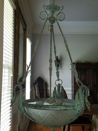 "Patinated Chandelier - Solid Bronze Swan - 22 "" W X 36 "" H - 1940"