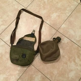 Rare,  2nd Pattern 2 Quart Canteen,  Cover And Thin Shoulder Strap