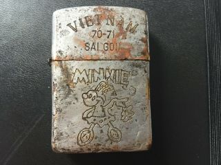 Rare Vintage Vietnam Era Zippo Lighter 1970 - 71 Tour Saigon Minnie Mouse Nr 2