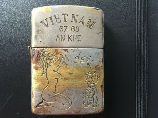 Rare Vintage Vietnam Era Zippo Lighter 1967 - 68 Tour An Khe Sexy Graphic Nr 1