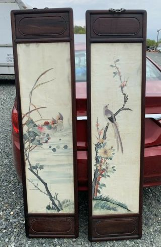 Huge Antique Chinese Silk Panels With Birds And Rosewood Frames