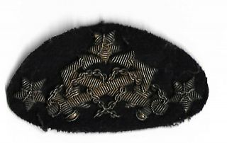 Civil War Officer Badge Brocade Crossed Anchors Three Stars On Blue Cloth Sewn