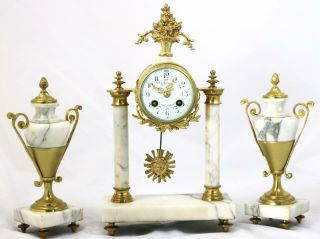 French Antique Mantle Clock Set 8 Day Bell Striking White Marble Portico 3 Piece