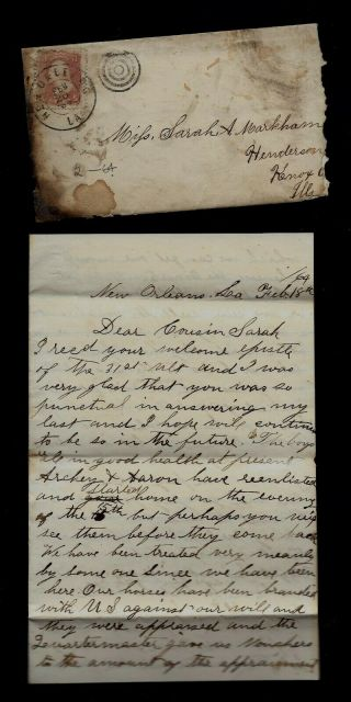 2nd Illinois Cavalry Civil War Letter From Orleans - Great Content