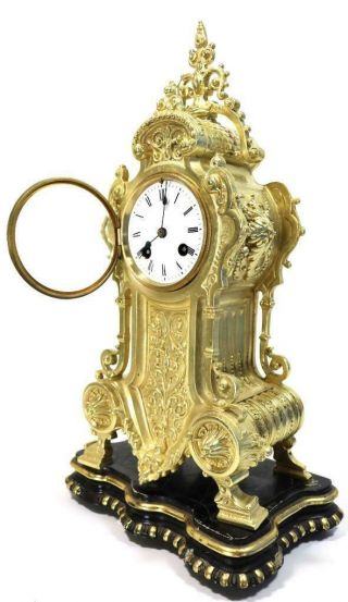 Antique French Mantle Clock 1855 Japy Freres Embossed Gilt Bronze Bell Striking