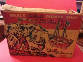 Vintage Ideal Jolly Roger Pirate Ship W/ 6 Pirate Figures And Accessories