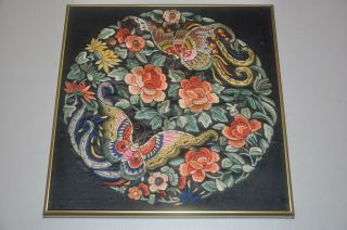 Antique Chinese Qing Dynasty Embroidered Silk Roundel