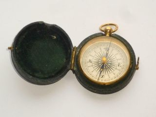 Exceptional Rare Antique Late Georgian Gilt Gold On Brass Pocket Compass In Case