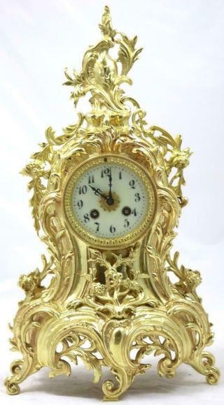 Antique Mantle Clock French Rococo Gilt Bronze Bell Striking Japy