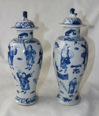 Chinese Vases Antique 19th C Century Porcelain Pottery Signed Marked Blue