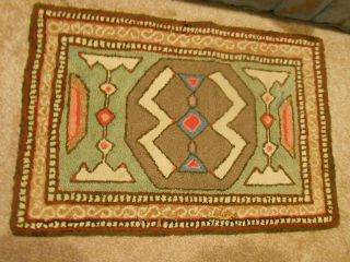 Antique Hooked Rug Made To Look Like An American Indian Weaving /
