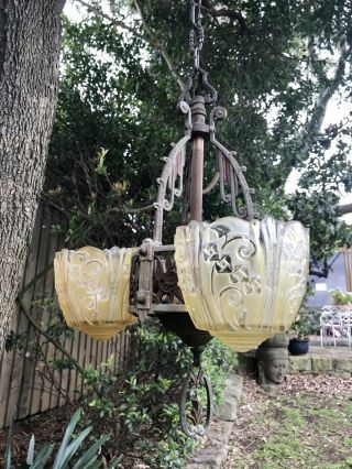 Antique Art Deco 3 Arm Frosted Glass Slip Shade Ceiling Light