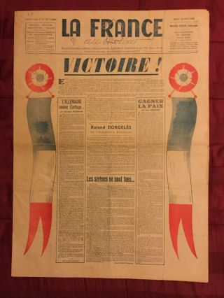 Nazi Germany Surrenders - World War Ii - 1945 Paris,  France Newspaper