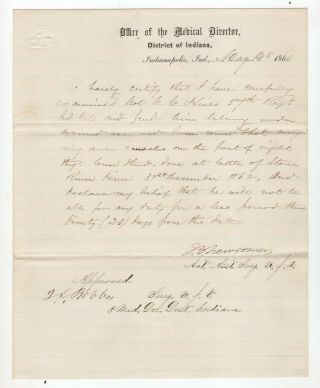 1863 Medical Report On Col Cyrus Hines Shot At Battle Of Stone River