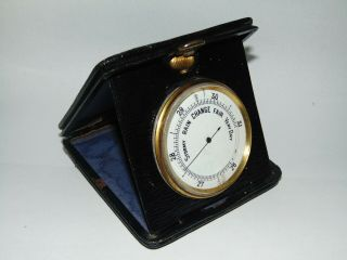Stylish Antique Vintage Leather Cased Portable Travel Barometer With Enamel Dial