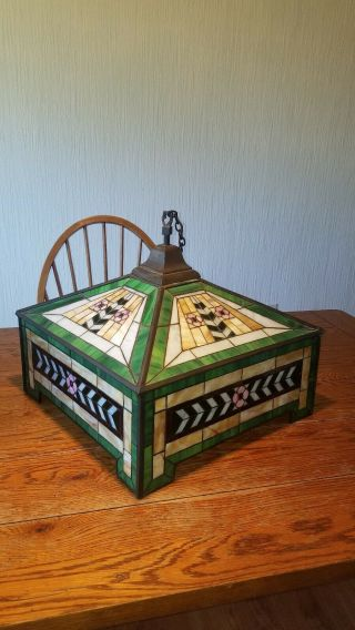 Antique Mission Arts And Crafts Stained Glass Fixture For Restoration