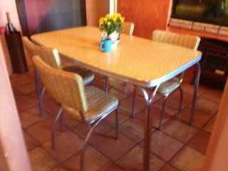 Vintage 1950s Mid - Century Retro Formica Chrome Dinette Kitchen Table & 4 Chairs