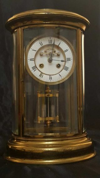 19 C French Oval Four Glass Mantel Clock 8 Day Striking Brass & Bevelled