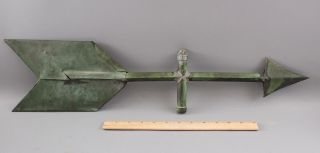 Antique 19thc American Folk Art Copper Arrow Weathervane,  Nr