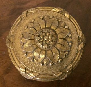 Antique 19th C.  French Gilt Bronze Louis Xvi Sunflower Round Door Knob Furniture