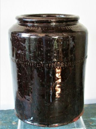 Redware Canister; 18th - 19th C.  England Americana