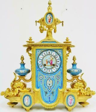 Stunning Antique French 8 Day Bronze Ormolu & Blue Sevres Porcelain Mantle Clock