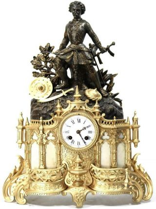 Antique Mantle Clock French 8 Day Stunning 2 Tone 2 Piece Figural Gilt C1855
