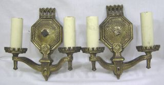 Vintage Pair 1930s Art Deco Electric Wall Sconces Gothic Style Rewired