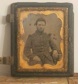 Rare Old Civil War Union Or Confederate Soldier Tin Type Picture