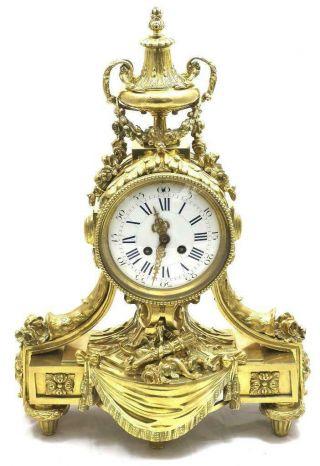 Antique Mantle Clock Breath Taking Gilt Bronze 8 Day Bell Striking 1870 S.  Marti