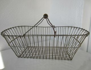 "Large 20 "" Vintage Metal Wire Basket With Handle,  Antique Old Garden Kitchen"