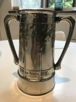 Magnificent Early Liberty & Co Tudric Art Nouveau Pewter Loving Cup 010