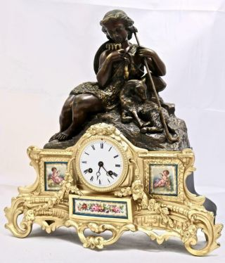 Antique French Mantle Clock 8 Day 2 Piece 2 Tone Figural Gilt & Sevres