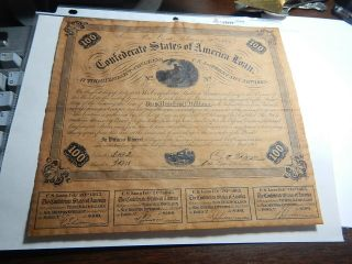 Civil War Confederate $100.  00 Bond Signed Dated Etc Real Deal