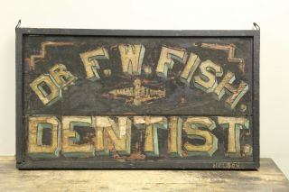 Antique F.  W.  Fish Dentist Trade Sign Painted & Crushed Glass Surface L@@k